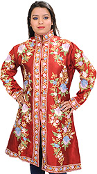 Pompeian-Red Kashmiri Long Jacket with Ari Embroidered Flowers All-Over