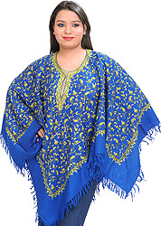 Poncho from Kashmir with Ari Hand-Embroidered Paisleys All-Over