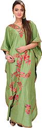 Tendril-Green Kashmiri V-Neck Kaftan with Ari Embroidered Flowers