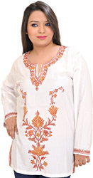 Snow-White Short Kashmiri Kurti with Ari Embroidery by Hand