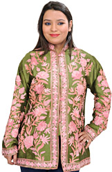 Peridot Short Kashmiri Jacket with Ari Embroidery in Pink Thread