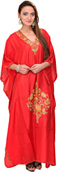 Poppy-Red Kashmiri Kaftan with Ari Hand-Embroidered Flowers