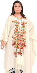 Winter-White Kashmiri Cape with Ari Hand-Embroidered Flowers