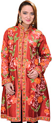 True-Red Kashmiri Long Jacket with Ari Embroidered Flowers