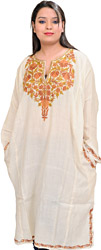 Antique-White Phiran from Kashmir with Ari Hand-Embroidered Flowers on Neck