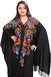 Black Kashmiri Cape with Ari Hand-Embroidered Flowers in Multi Thread