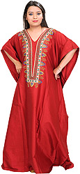 Cardinal-Red Kaftan with Beads Hand-Embroidered on Neck