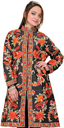 Jet-Black Kashmiri Long Jacket with Ari Embroidery