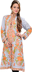 Dawn-Gray Kashmiri Long Jacket with Ari Embroidered Flowers