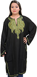 Black Phiran from Kashmir with Ari Hand-Embroidered Paisleys on Neck and Border
