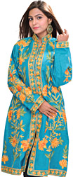 Enamel-Blue Kashmiri Long Jacket with Ari Embroidered Flowers