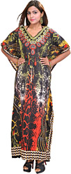 Multi-Color Long Batik Printed Kaftan with Dori at Waist