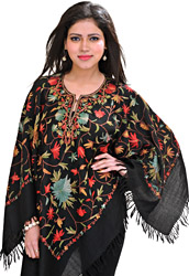 Jet-Black Poncho from Kashmir with Ari Hand-Embroidered Flowers in Multi-Thread