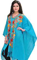 Blue-Atoll Ari-Embroidered Cape From Kashmir