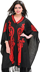 Caviar-Black Kashmiri Cape with Ari Embroidered Paisleys by Hand