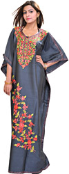 Dark-Gray Ari Embroidered Kashmiri Kaftan