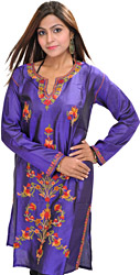 Spectrum-Blue Kashmiri Kurti with Ari Embroidered Flowers by Hand