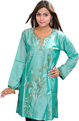 Agate-Green Kashmiri Kurti with Ari Hand-Embroidery
