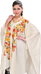 Whisper-White Kashmiri Cape with Ari Embroidered Flowers by Hand