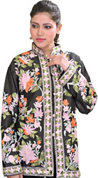 Jet-Black Ari Embroidered Jacket From Kashmir