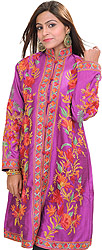 Hyacinth-Violet Kashmiri Long Jacket with Ari Embroidered Flowers