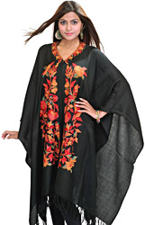 Black Kashmiri Cape with Ari Embroidery by Hand