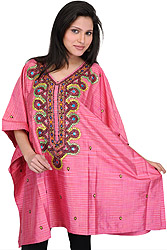 Bubblegum-Pink Short Kashmiri Kaftan with Hand-Embroidered Beads