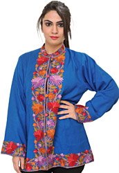French-Blue Kashmiri Jacket with Hand-Embroidered Flowers on Border
