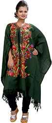 Dark-Green Kashmiri Cape with Floral Ari Embroidery by Hand