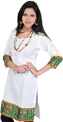 Chikan Embroidered Bright-White Kurti with Printed Madhubani Patch Border