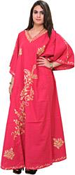 Pink-Flambé Kashmiri Kaftan with Ari-Embroidered Paisleys