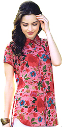 Flamingo-Pink Shirt with Printed Flowers