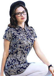 Dark-Blue Shirt with Printed Paisleys All-Over