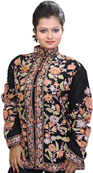 Caviar-Black Jacket from Kashmir with Ari Embroidered Flowers All-Over