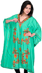 Mint-Green Kashmiri Short Kaftan with Ari Embroidery by Hand