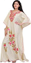 Egret-White Kashmiri Kaftan with Ari-Embroidered Flowers