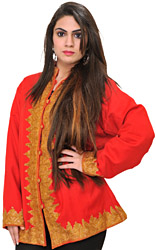 Tomato-Red Kashmiri Jacket with Hand-Embroidered Paisleys in Gold Color