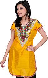 Saffron-Yellow Kurti with Floral Embroidered Patch and Crystals