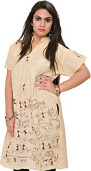 Ivory-Cream Kurti with Embroidered Warli Folk-Motifs