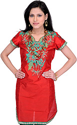 Tomato-Red Kurti with Embroidered Patch on Neck