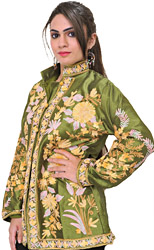 Cactus-Green Jacket from Kashmir with Ari Embroidery