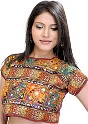 Multi-Color Embroidered Choli from Gujarat with Mirrors
