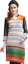 Multi-Color Kurti with Printed Motifs