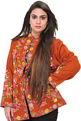 Bombay-Brown Floral Hand-Embroidered Jacket from Kashmir