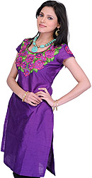 Prism-Violet Kurti with Roses Embroidered Patch and Crystals