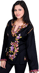 Jet-Black Short Kashmiri Kurti with Ari Embroidery by Hand