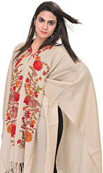 Sandshell-Colored Cape from Kashmir with Ari Embroidered Flowers by Hand