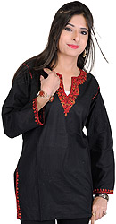 Black Kashmiri Kurti with Ari Hand-Embroidery on Neck
