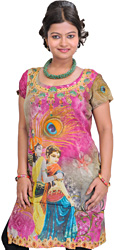 Pink and Green Digital Printed Kurti with Radha Krishna