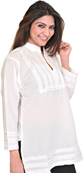 Bright-White Plain Kurti with Lace